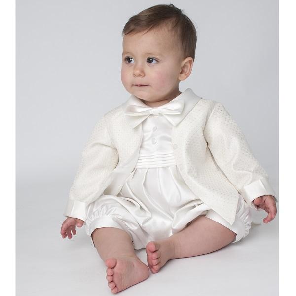 Boys Christening Outfit | Baby Boys Ivory Tuxedo Romper ...
