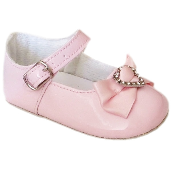 Baby Girls Pink Christening Shoes Patent Diamante Heart ...